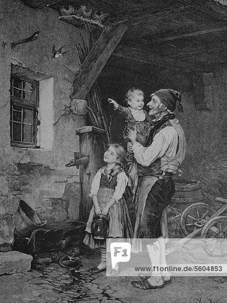 Bauer zeigt den Kindern die nestbauenden Schwalben  historischer Stich  1883