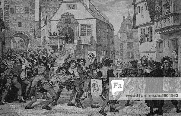 Bestrafung des häuslichen Unfriedens im Mittelalter  historischer Stich  1883