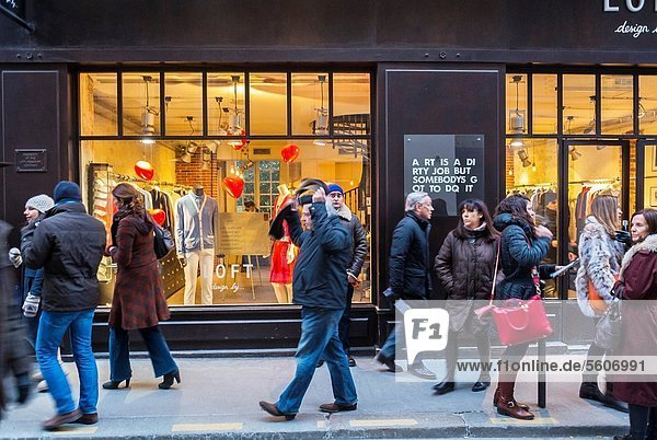 Paris  France  People in Le Marais District  Window Shopping  Sunday Afternoon