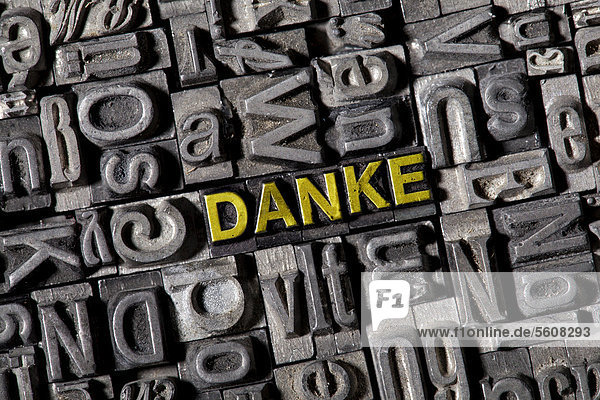 'The word ''Danke''  German for ''thanks''  made of old lead type'