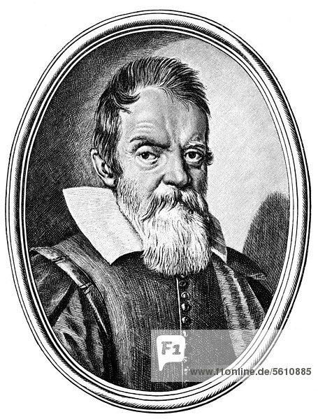 Historische Zeichnung aus dem 19. Jahrhundert  Portrait von Galileo Galilei  1564 - 1642  ein italienischer Philosoph  Mathematiker  Physiker und Astronom