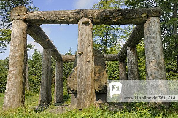 Skulptur  Stein-Zeit-Mensch von Nils-Udo  Waldskulpturenweg am Rothaarsteig  Nordrhein-Westfalen  Deutschland  Europa