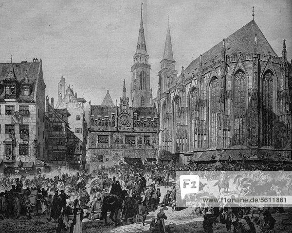 Einzug von Gustav Adolf in Nürnberg 1632  hier an der Sebalduskirche  historischer Stich  ca. 1885 Einzug von Gustav Adolf in Nürnberg 1632, hier an der Sebalduskirche, historischer Stich, ca. 1885