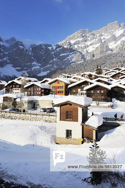 Europa Winter Urlaub Dorf Ansicht Schweiz