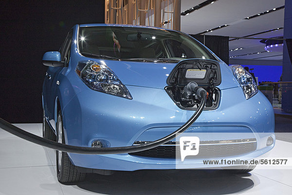 The Nissan Leaf electric vehicle on display at the North American International Auto Show  Detroit  Michigan  USA