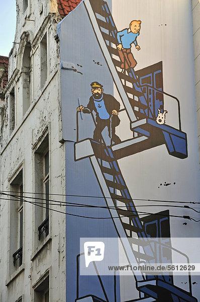 Europa Brüssel Hautpstadt Belgien Graffiti