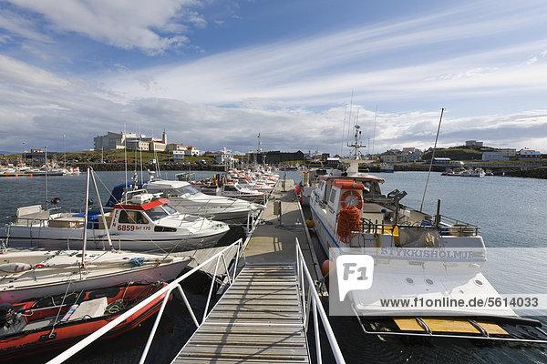 Ort und Hafen von StykkishÛlmur  Island  Nordeuropa  Europa