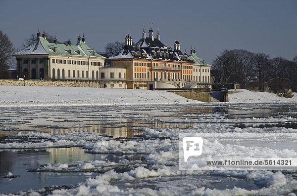 Die fast zugefrorene Elbe  ein seltenes Phänomen  das einen spektakulären Blick auf die Stadt verleiht  Pillnitz  Dresden  Sachsen  Deutschland  Europa