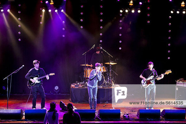 Swiss singer songwriter James Gruntz and band  live at the Winterfestival  Wolhusen  Lucerne  Switzerland  Europe