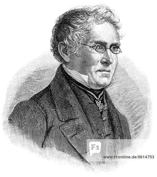 Historische Zeichnung aus dem 19. Jahrhundert  Portrait von Karl August Varnhagen von Ense  1785 - 1858  ein deutscher Chronist  Erzähler  Biograph und Diplomat