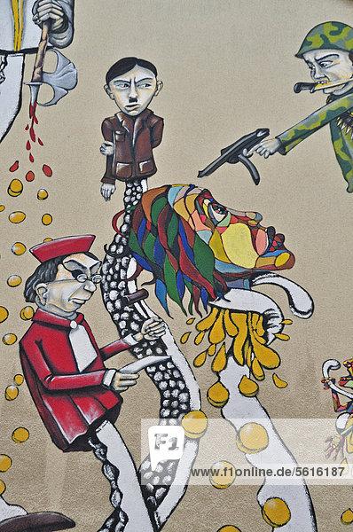 Graffiti  Die Krake Kapital und ihre Arme  Cityleaks-Festival  Köln  Nordrhein-Westfalen  Deutschland  Europa  ÖffentlicherGrund