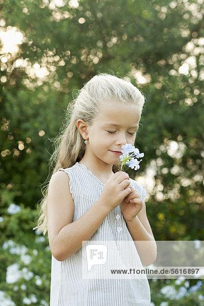 Mädchen riechende Blumen  Augen geschlossen Mädchen riechende Blumen, Augen geschlossen