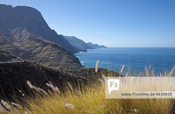 West coast near Puerto de las Nieves  Gran Canaria  Canary Islands  Spain  Europe  Atlantic Ocean