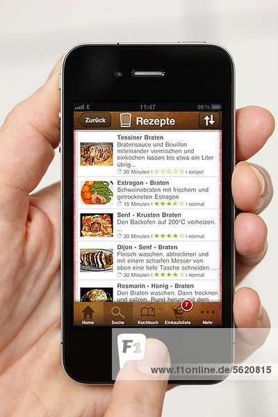 Iphone  Smartphone  App auf dem Display  Chefkoch-App  Kochrezepte