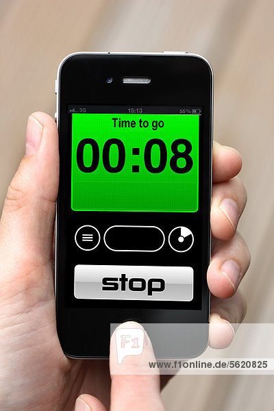 Iphone  Smartphone  Timer  Wecker  Stoppuhr  App auf dem Display