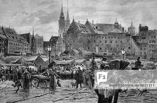 Kindleinsmarkt am Thomastag in Nürnberg  Bayern  Deutschland  historischer Holzstich  ca. 1897 Kindleinsmarkt am Thomastag in Nürnberg, Bayern, Deutschland, historischer Holzstich, ca. 1897