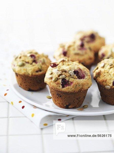 Cranberrymuffins mit Sonnenblumenkernen