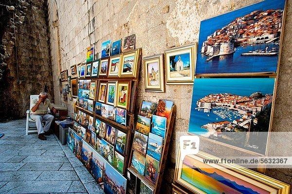 Blumenmarkt  Straße  Stadt  verkaufen  bemalen  Künstler  Kroatien  Dubrovnik  alt
