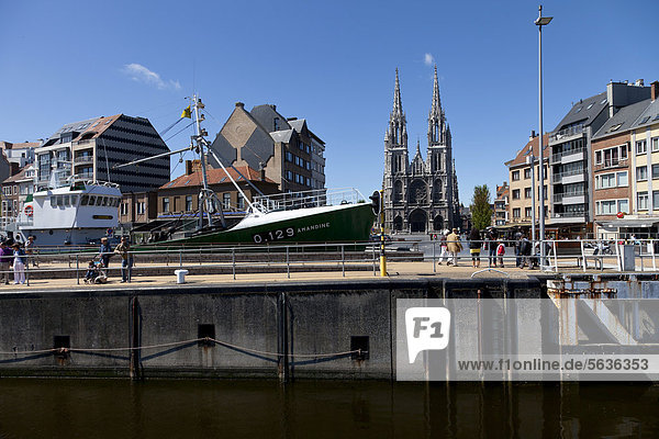Cityscape with Church Saint Peter and Saint Paul  Ostend  Belgium  Europe