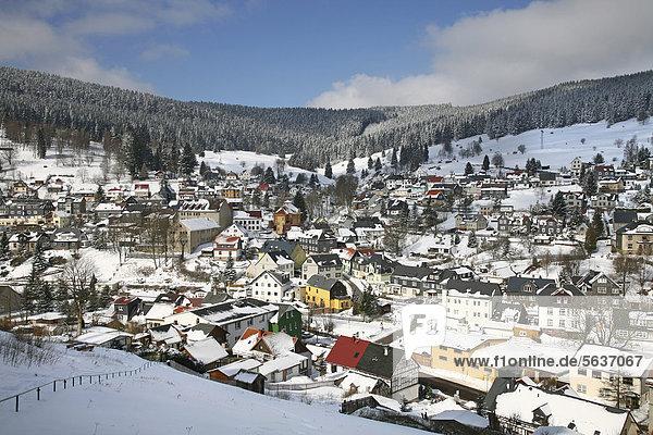 Manebach im Winter  Thüringer Wald  Thüringen  Deutschland  Europa