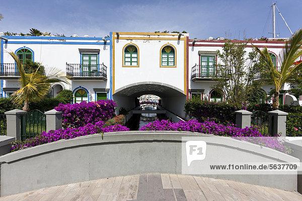 Hafen Europa Wohnhaus über Nachbarschaft Kanaren Kanarische Inseln Gran Canaria Mogan Spanien
