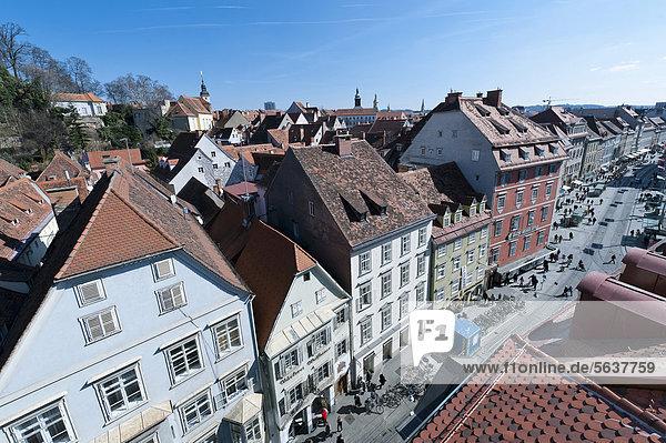 View of the historic district  Herrengasse street  Graz  Styria  Austria  Europe