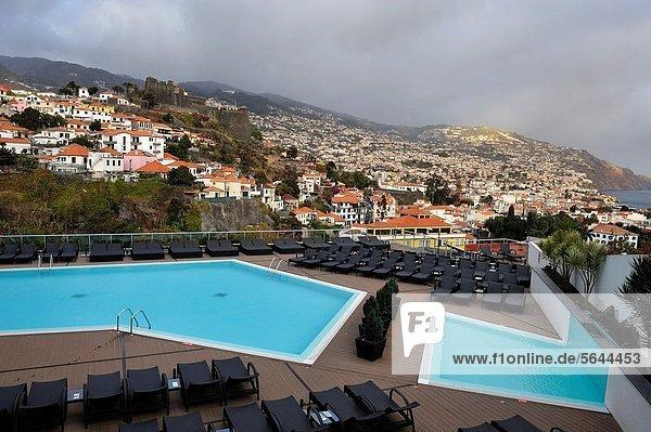 swimming pool of the Four Views Baia hotel  Funchal  Madeira island  Atlantic Ocean  Portugal
