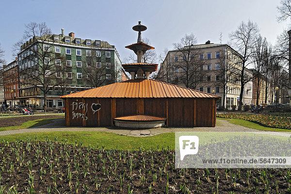 Springbrunnen Brunnen Fontäne Fontänen Europa Bayern Zierbrunnen Brunnen Deutschland München