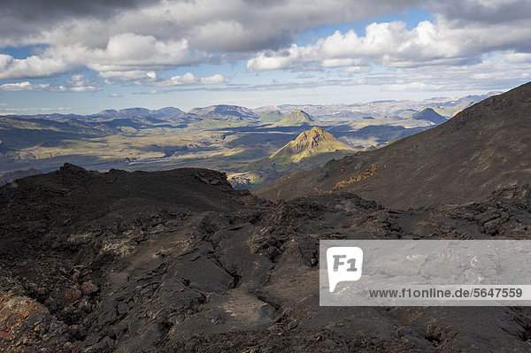 View of _Ûrsmoerk  Thorsmoerk Valley and Landmannalaugar  hiking trail to the Fimmvoer_uh·ls  Fimmvoerduhals plateau  Su_urland  Sudurland  Southern Iceland  Europe