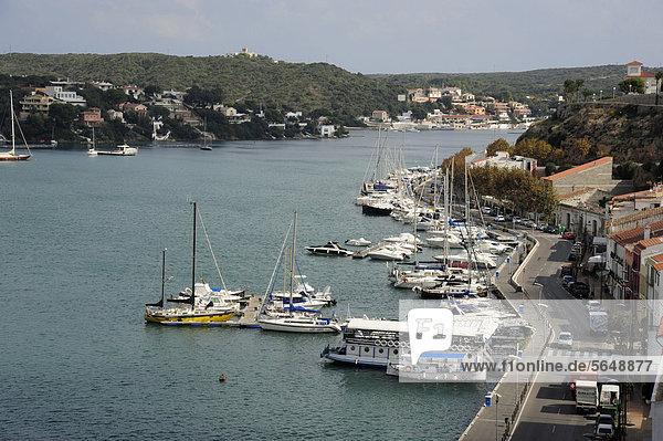 Hafen Europa Boot Menorca Balearen Balearische Inseln Spanien