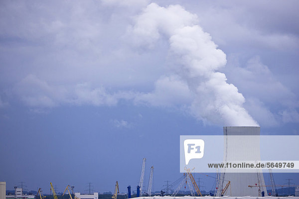 Deutschland  Rostock  Rauch aus dem Schornstein