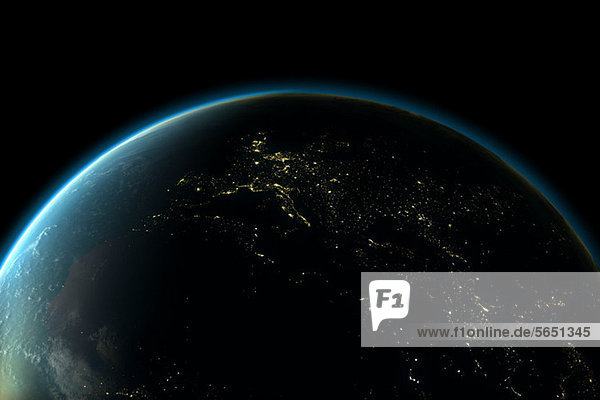 Planet Erde mit Lichtern Europas bei Nacht