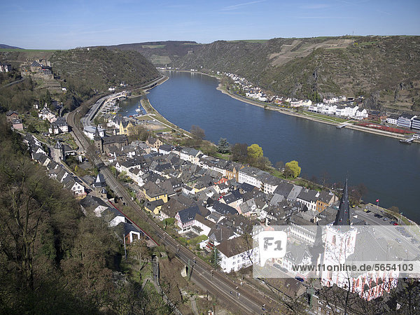 View of St. Goar and Rheinfels Castle  Rhine River  Rhineland-Palatinate  Upper Middle Rhine Valley  a UNESCO World Heritage site  Germany  Europe