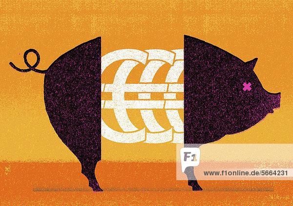 Eurozeichen in der Mitte eines Schweins