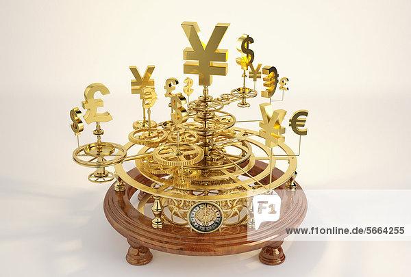 Goldene Währungssymbole auf einem Sonnensystem-Modell