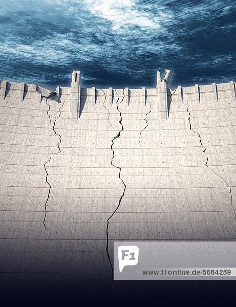 Brechende Staumauer