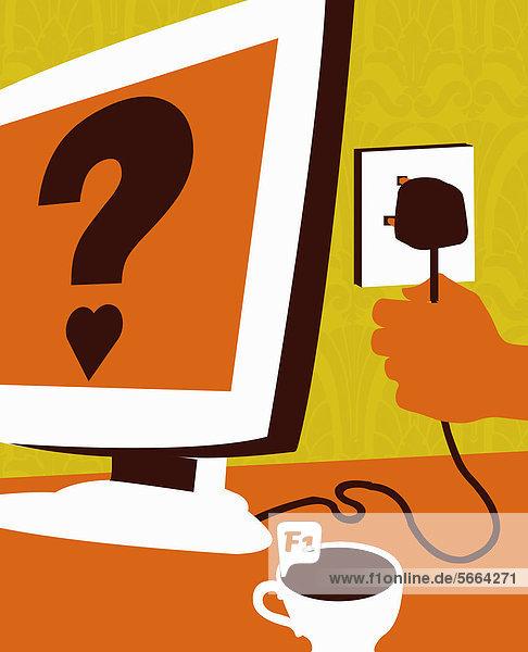 Hand zieht Stecker aus einem Computer-Bildschirm mit Fragezeichen und Herz
