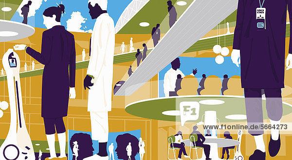 Geschäftsleute in futuristischem Konferenzzentrum