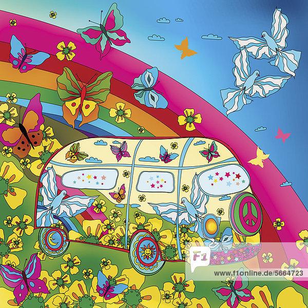 Schmetterlinge und Regenbogen umgeben einen bunten Bulli Schmetterlinge und Regenbogen umgeben einen bunten Bulli