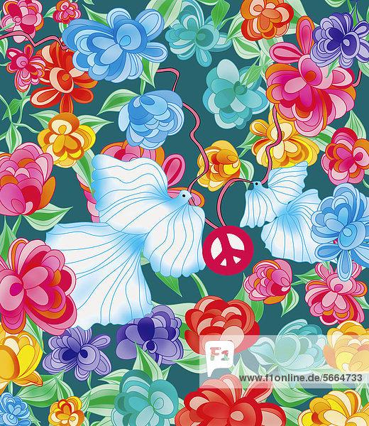Tauben mit Friedenssymbol umgeben von leuchtenden Blumen Tauben mit Friedenssymbol umgeben von leuchtenden Blumen
