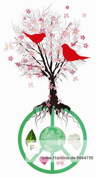 Blühender Baum wächst aus einem Friedenssymbol Blühender Baum wächst aus einem Friedenssymbol