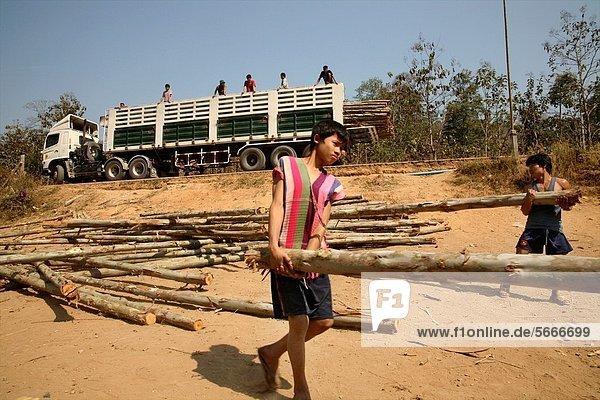 bauen Mann tragen Wohnhaus Junge - Person Hilfe Uneigennützigkeit Lifestyle Siedlung Myanmar 30 Thailand