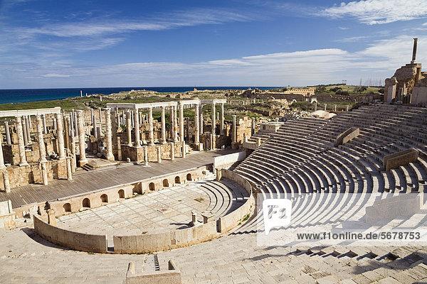Antikes römisches Theater von Leptis Magna  Libyen  Nordafrika  Afrika Antikes römisches Theater von Leptis Magna, Libyen, Nordafrika, Afrika