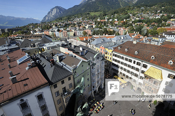 View of Goldenes Dachl  Hoelblinghaus building and the historic district as seen from Stadtturm tower  Innsbruck  Tyrol  Austria  Europe
