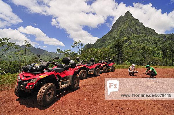 Quad bike tour on Moorea  Windward Islands  Society Islands  French Polynesia  Pacific Ocean