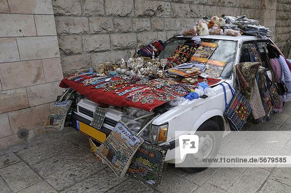 Auto als Verkaufsstand  Jerusalem  Israel  Naher Osten