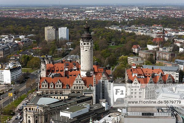 City panorama from the City-Hochhaus building  MDR Tower  looking west over New Town Hall and Town Hall Tower  Leipzig  Germany  Europe