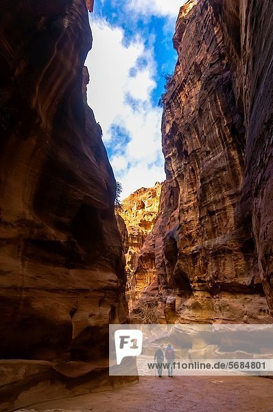 The Siq a 1200 meter long gorge in the Petra archaeological site a UNESCO world heritage site  Jordan