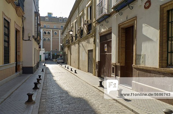 Empty streets in Seville during Holy week celebration  Andalusia  Spain  Europe