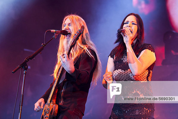 Bass player Marco Hietala and singer Anette Olzon from the Finnish symphonic metal band Nightwish performing live at the Hallenstadion concert hall  Zurich  Switzerland  Europe